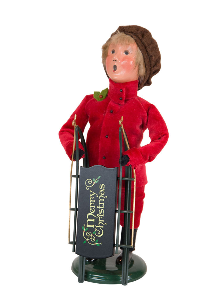 "Byers Choice Caroler - ""Victorian Boy with Sled"" 2018"