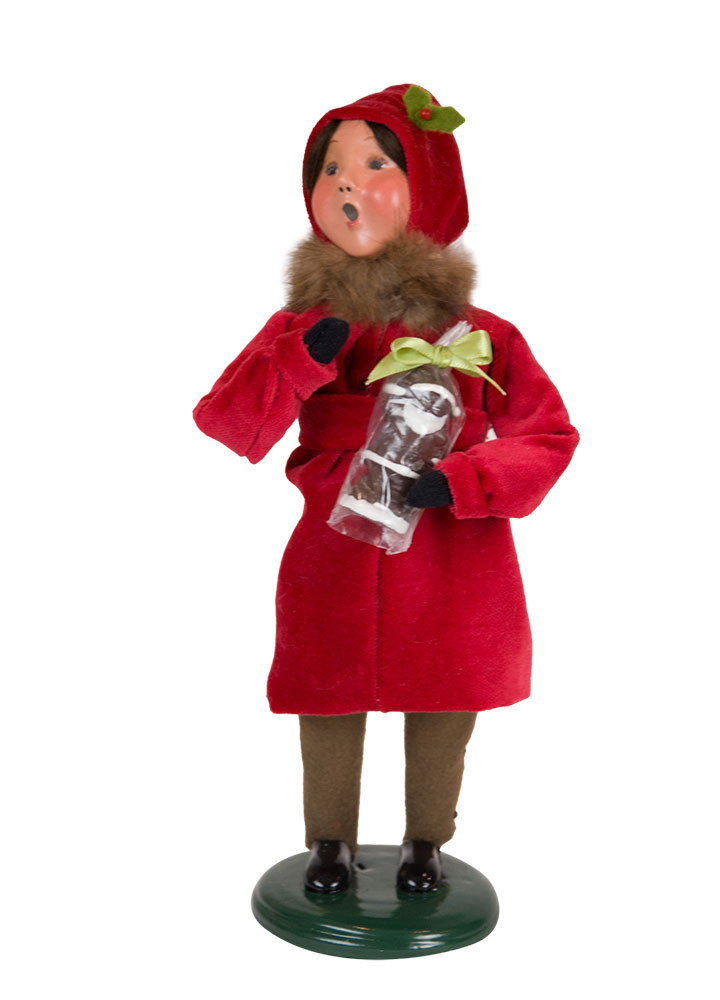 Byers Choice Caroler - Victorian Girl with Santa 2018
