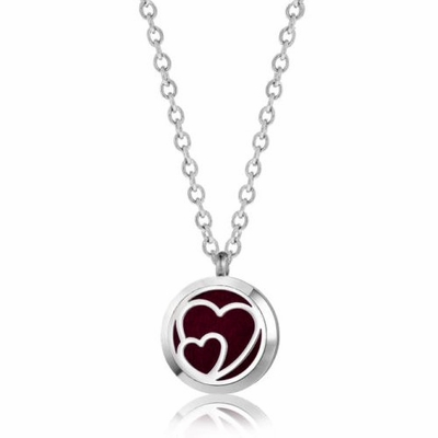 C.T. Hill Essential Oil Necklace - Interlocking Hearts - 0.875in Diameter