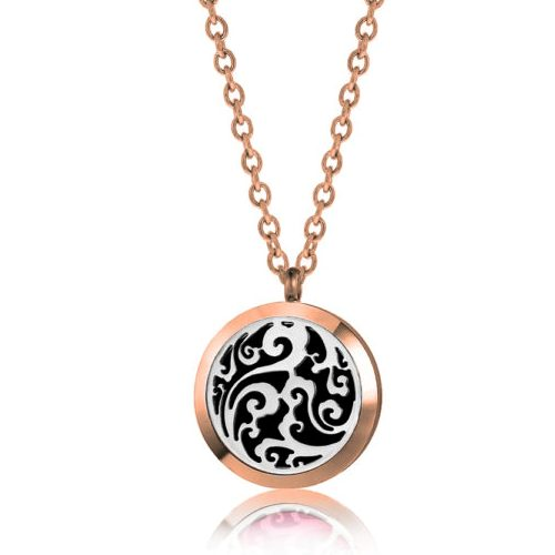"C.T. Hill Essential Oil Necklace - ""Rose Gold Mystic Swirl"" - 1.18in Diameter"