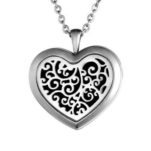 "C.T. Hill Essential Oil Necklace - ""Trailing Vines Heart"" - 1.30in X 1.18in"