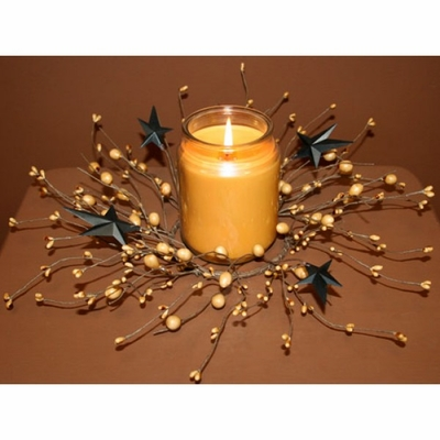 Candle Ring - Black/Tan Berry And Star - 4.5 Inch