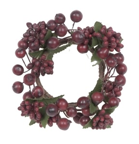 Burgundy Berry Candle Ring - 1.5in