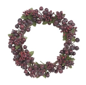 Burgundy Berry Candle Ring - 3.5in