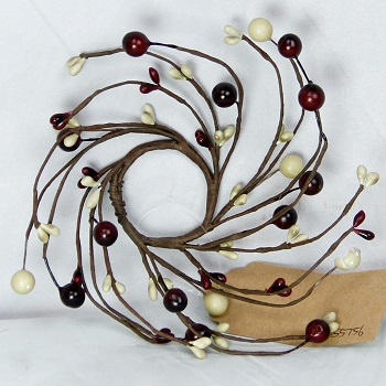 "Candle Ring - ""Burgundy & Cream Berry Ring"" - 1.5 Inch"