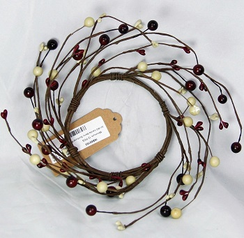 "Candle Ring - ""Burgundy & Cream Berry Ring"" - 3.5 Inch"