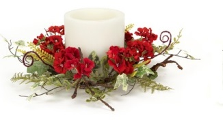 "Candle Ring - ""Geranium And Fern Candle Ring"" - Large"
