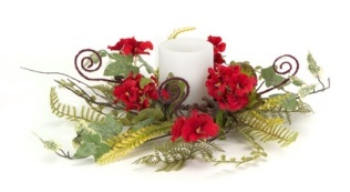 "Candle Ring - ""Geranium And Fern Candle Ring"" - Small"