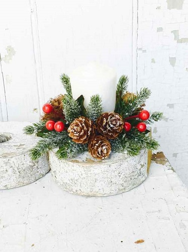 Icy Berry With Mini Pine Cone Candle Ring - 1in