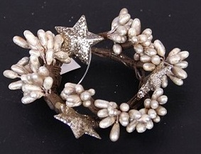 Platinum Pip Berry With Stars Candle Ring - 1.5in