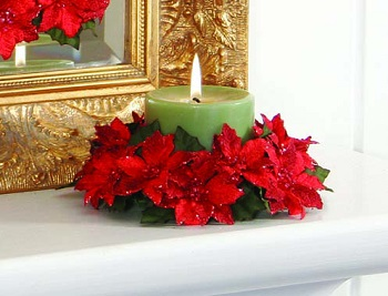 "Candle Ring - ""Poinsettia Candle Ring "" - 3"""