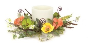 "Candle Ring - ""Poppy And Fern Candle Ring"" - Large"