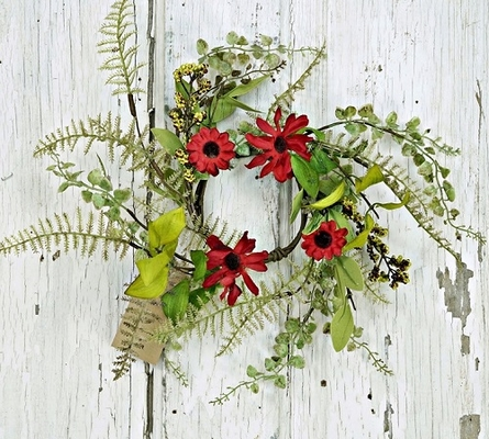 """Candle Ring - """"Red Aster Daisy Candle Ring"""" - 3.5"""""""