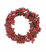 Candle Ring - Red Berry With Green Leaves Candle Ring - 3.5 Inch