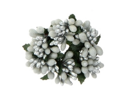 """Candle Ring - """"White/Silver Berry Candle Ring"""" - 1"""""""
