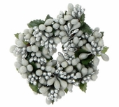 """Candle Ring - """"White/Silver Berry Candle Ring"""" - 2"""""""