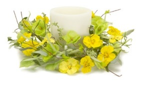 Yellow Pansy And Wildgrass Candle Ring - 6in