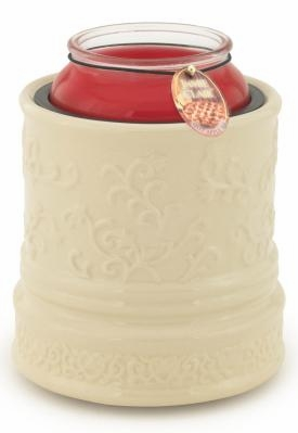 """Candle Warmer  - """"Electric Large Jar Candle Warmer""""  - Embossed Cream"""