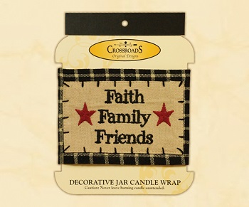 "Decorative Jar Candle Wrap - ""Faith, Family & Friends Candle Wrap"""