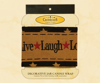 "Decorative Jar Candle Wrap - ""Live, Laugh, Love Candle Wrap"""