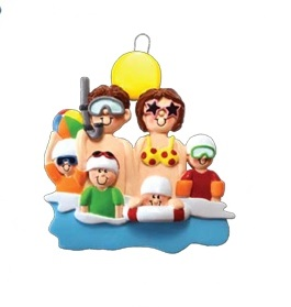 Christmas Ornament - At The Beach Ornament - Family of 6