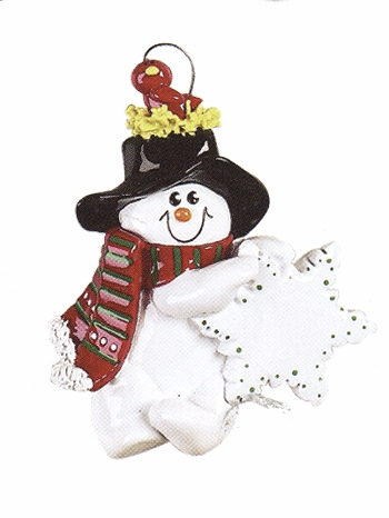 "Christmas Ornament - ""Bird Nest Snowman"""