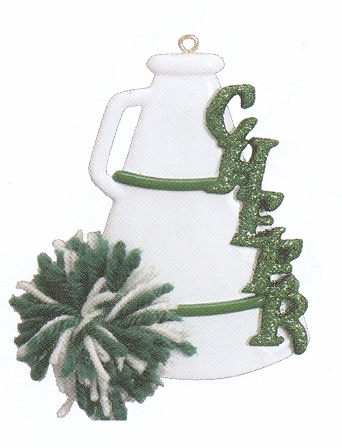 "Christmas Ornament - ""Cheer - MegaPhone"" - Green & White"