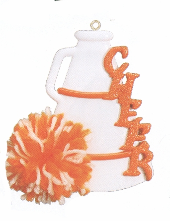 "Christmas Ornament - ""Cheer - MegaPhone"" - Orange & White"