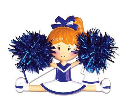 "Christmas Ornament - ""Cheerleader Ornament - Blue"""