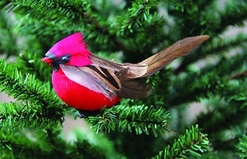 Christmas Ornament - Red and Brown Chickadee Clip On - 3.5 Inch