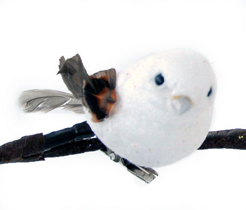 "Christmas Ornament - ""Clip On Glitter Bird Ornament"" - White"