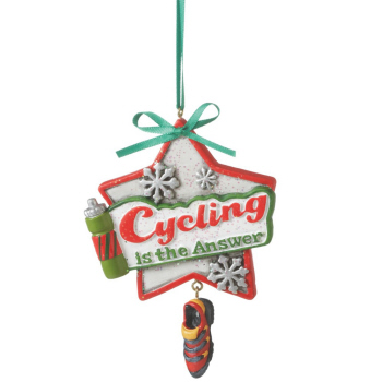 "Christmas Ornament - ""Cycling Is The Answer Ornament"""