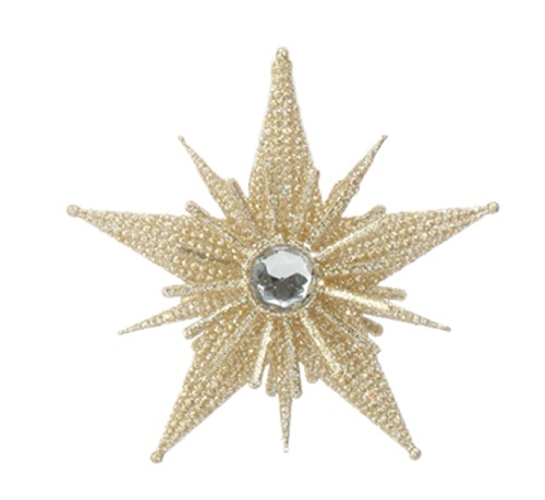 Christmas Ornament - Gold Starburst - 4in