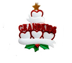 "Christmas Ornament - ""Grand Kids Heart Ornament - 4"""