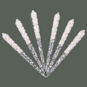 "Christmas Ornament - ""Icicles with Glitter"" - Box of 6"