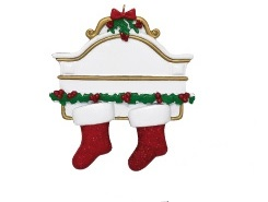 "Christmas Ornament - ""Mantle With 2 Stockings Ornament"""