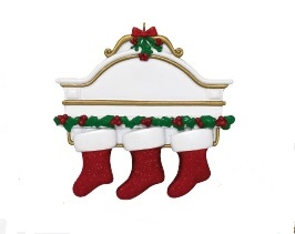 "Christmas Ornament - ""Mantle With 3 Stockings Ornament"""