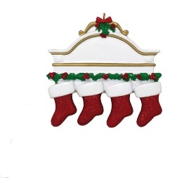 "Christmas Ornament - ""Mantle With 4 Stockings Ornament"""