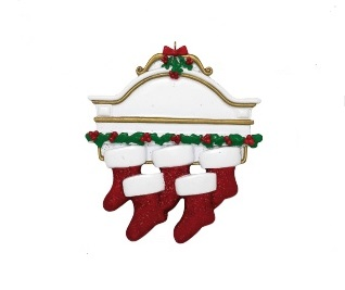 "Christmas Ornament - ""Mantle With 5 Stockings Ornament"""