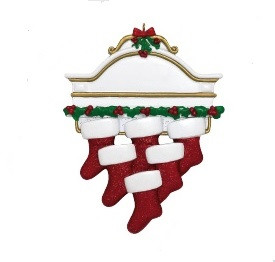 """Christmas Ornament - """"Mantle With 6 Stockings Ornament"""""""