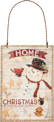 """Christmas Ornament - """"Home For Christmas With A Snowman Ornament"""""""