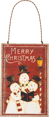 "Christmas Ornament - ""Merry Christmas With Snowmen Ornament"""