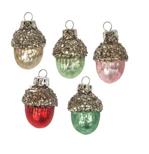 "Christmas Ornament - ""Miniature Acorn Ornament Set"" - Set of 6"