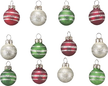 "Christmas Ornament - ""Miniature Christmas Ball Ornament Set"" - Set of 12"