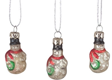 "Christmas Ornament - ""Miniature Snowman Ornament Set"" - Set of 6"