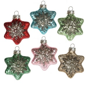 "Christmas Ornament - ""Miniature Star Ornament Set"" - Set of 6"