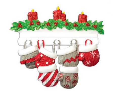 "Christmas Ornament - ""Mitten Family Ornament -6"""