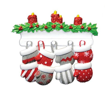 "Christmas Ornament - ""Mitten Family Ornament -8"""