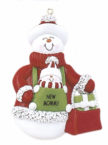 "Christmas Ornament - ""New Mommy - Snowman"""