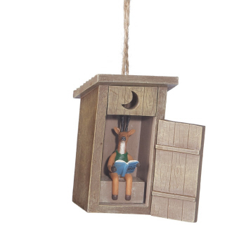 "Christmas Ornament - ""Outhouse With Deer Ornament"""